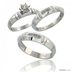 10k White Gold Diamond Trio Wedding Ring Set His 5.5mm & Hers 4mm