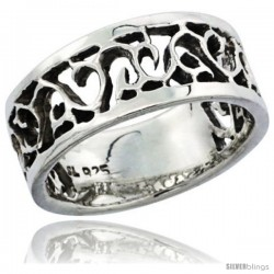Sterling Silver Cut-out Swirl Wedding Band Ring, 3/8 in wide