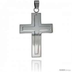 Stainless Steel Latin Cross Pendant, 30 in chain w/ Frosted Finish Center, 30 in chain