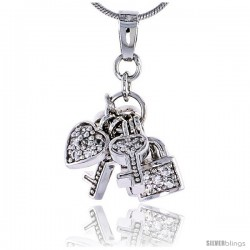 "Sterling Silver Jeweled Pendant w/ Heart Key Padlock & Cubic Zirconia, 7/8"" (22 mm)"