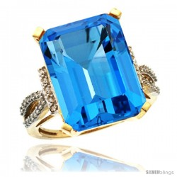 14k Yellow Gold Diamond Swiss Blue Topaz Ring 12 ct Emerald Shape 16x12 Stone 3/4 in wide