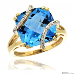 14k Yellow Gold Diamond Swiss Blue Topaz Ring 7.5 ct Cushion Cut 12 mm Stone, 1/2 in wide