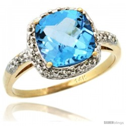 14k Yellow Gold Diamond Swiss Blue Topaz Ring 2.08 ct Cushion cut 8 mm Stone 1/2 in wide