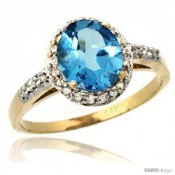 14k Yellow Gold Diamond Swiss Blue Topaz Ring Oval Stone 8x6 mm 1.17 ct 3/8 in wide