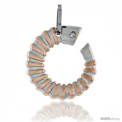 Stainless Steel Horn Pendant 2-Tone w/ CZ Stone, 30 in chain