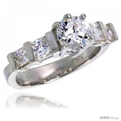 Sterling Silver 3.00 Carat Size Brilliant & Princess Cut Cubic Zirconia Bridal Ring, 5/16 in (8 mm) wide