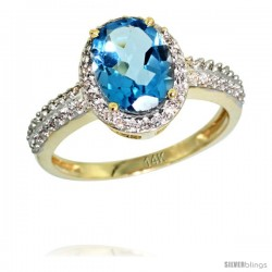 14k Yellow Gold Diamond Swiss Blue Topaz Ring Oval Stone 9x7 mm 1.76 ct 1/2 in wide