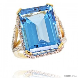 14k Yellow Gold Diamond Swiss Blue Topaz Ring 14.96 ct Emerald shape 18x13 Stone 13/16 in wide