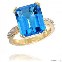 14k Yellow Gold Diamond Swiss Blue Topaz Ring 5.83 ct Emerald Shape 12x10 Stone 1/2 in wide