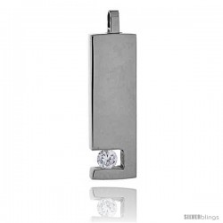 Stainless Steel Bar Pendant w/ 4 mm Crystal, 1 1/8 in tall, w/ 30 in Chain -Style Pss15