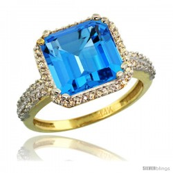 14k Yellow Gold Diamond Halo Swiss Blue Topaz Ring Checkerboard Cushion 11 mm 5.85 ct 1/2 in wide