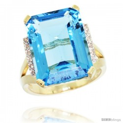 14k Yellow Gold Diamond Swiss Blue Topaz Ring 12 ct Emerald Cut 16x12 stone 3/4 in wide
