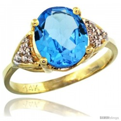 14k Yellow Gold Diamond Swiss Blue Topaz Ring 2.40 ct Oval 10x8 Stone 3/8 in wide