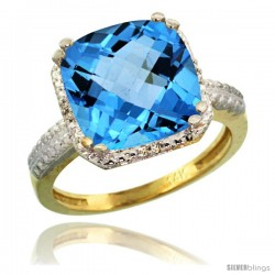 14k Yellow Gold Diamond Swiss Blue Topaz Ring 5.94 ct Checkerboard Cushion 11 mm Stone 1/2 in wide