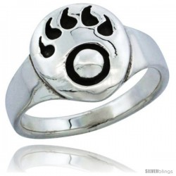 Sterling Silver Bear Paw Ring 5/16 in wide