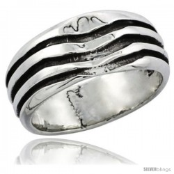 Sterling Silver 3-Stripe Wedding Band Ring 3/8 in wide
