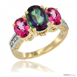 10K Yellow Gold Ladies 3-Stone Oval Natural Mystic Topaz Ring with Pink Topaz Sides Diamond Accent