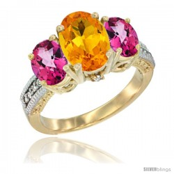 10K Yellow Gold Ladies 3-Stone Oval Natural Citrine Ring with Pink Topaz Sides Diamond Accent