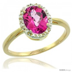 10k Yellow Gold Pink Topaz Diamond Halo Ring 1.17 Carat 8X6 mm Oval Shape, 1/2 in wide