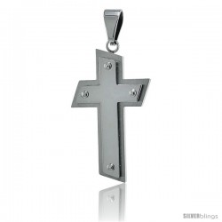 Stainless Steel Beaded Cross Pendant, 30 in chain