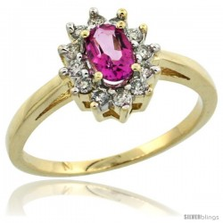 10k Yellow Gold Pink Topaz Diamond Halo Ring Oval Shape 1.2 Carat 6X4 mm, 1/2 in wide