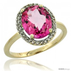 10k Yellow Gold Diamond Halo Pink Topaz Ring 2.4 carat Oval shape 10X8 mm, 1/2 in (12.5mm) wide