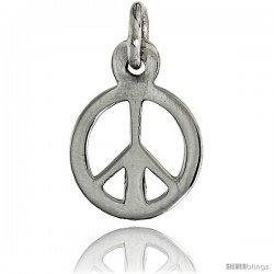 """Sterling Silver Tiny Peace Sign Pendant, w/ 18"""" Thin Box Chain, 9/16"""" (14 mm) tall"""