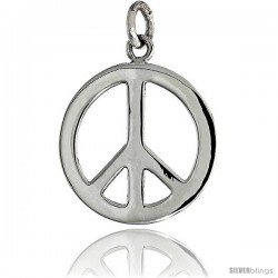 """Sterling Silver Small Peace Sign Pendant, w/ 18"""" Thin Box Chain, 13/16"""" (21 mm) tall"""