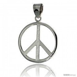 "Sterling Silver Peace Sign Pendant, w/ 18"" Thin Box Chain, 1 1/16"" (27 mm) tall"