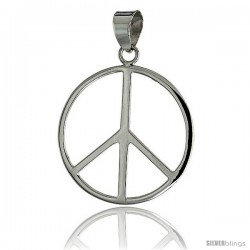 "Sterling Silver Peace Sign Pendant, w/ 18"" Thin Box Chain, 1 1/4"" (32 mm) tall"