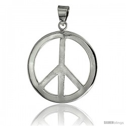"Sterling Silver Peace Sign Pendant, w/ 18"" Thin Box Chain, 1 7/16"" (36 mm) tall"