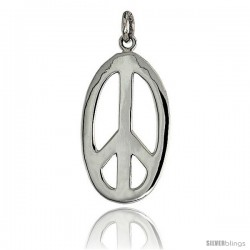 "Sterling Silver Oval Peace Sign Pendant, w/ 18"" Thin Box Chain, 1 1/8"" (29 mm) tall"