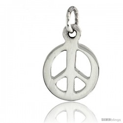 "Sterling Silver Tiny Peace Sign Pendant, w/ 18"" Thin Box Chain, 1/2"" (13 mm) tall"