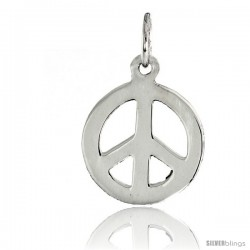 "Sterling Silver Small Peace Sign Pendant, w/ 18"" Thin Box Chain, 3/4"" (19 mm) tall"