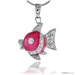"Sterling Silver Jeweled Fish Pendant, w/ Cubic Zirconia stones & Pink Enamel, 13/16"" (21 mm)"
