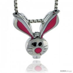 "Sterling Silver Child Size Rabbit Head Pendant, w/ Pink Enamel Design, 9/16"" (15 mm) tall"