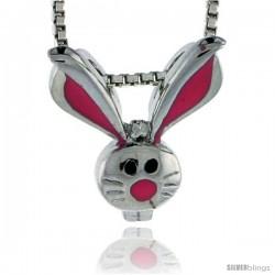 "Sterling Silver Child Size Rabbit Head Pendant, w/ Pink Enamel Design, 9/16"" (15 mm) tall"