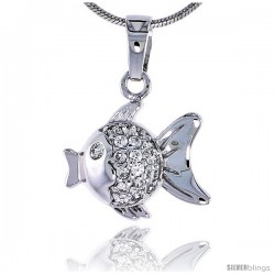 "Sterling Silver Jeweled Fish Pendant, w/ Cubic Zirconia, 5/8"" (16 mm)"