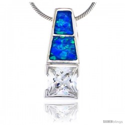 Sterling Silver Synthetic Opal Pendant w/ Square Cubic Zirconia, 3/4 in
