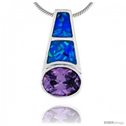Sterling Silver Synthetic Opal Pendant w/ Purple Oval Cubic Zirconia Stone, 3/4 in