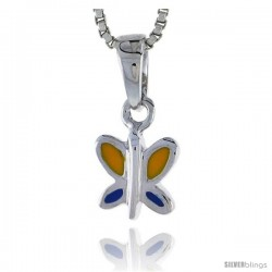 "Sterling Silver Child Size Butterfly Pendant, w/ Blue & Yellow Enamel Design, 7/16"" (11 mm) tall"