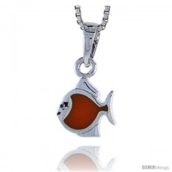 "Sterling Silver Child Size Fish Pendant, w/ Orange Enamel Design, 1/2"" (13 mm) tall"