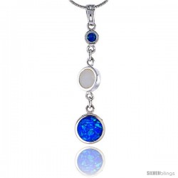 Sterling Silver 3-stone Pendant Synthetic Opal Mother of pearl inlay, 1 3/8 in