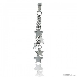 Sterling Silver Star Pendant, w/ Rolo chain, 1 5/8 (41 mm)