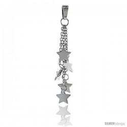 Sterling Silver Star Pendant, w/ Rolo chain, 1 5/8 (41 mm)