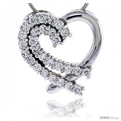 "Sterling Silver Jeweled Heart Pendant, w/ Cubic Zirconia stones, 3/4"" (20 mm) tall"