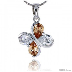"""Sterling Silver Butterfly Pendant, w/ Cubic Zirconia stones, 3/4"""" (19 mm) tall"""
