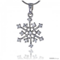 "Sterling Silver Jeweled Snowflake Pendant, w/ Cubic Zirconia stones, 7/8"" (23 mm)"