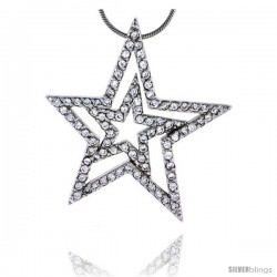 "Sterling Silver Jeweled Star Pendant, w/ Cubic Zirconia stones, 1 7/16"" (37 mm) tall"
