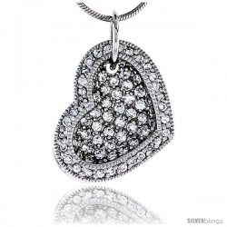 "Sterling Silver Jeweled Heart Pendant w/ Cubic Zirconia stones, 3/4"" (19 mm)"